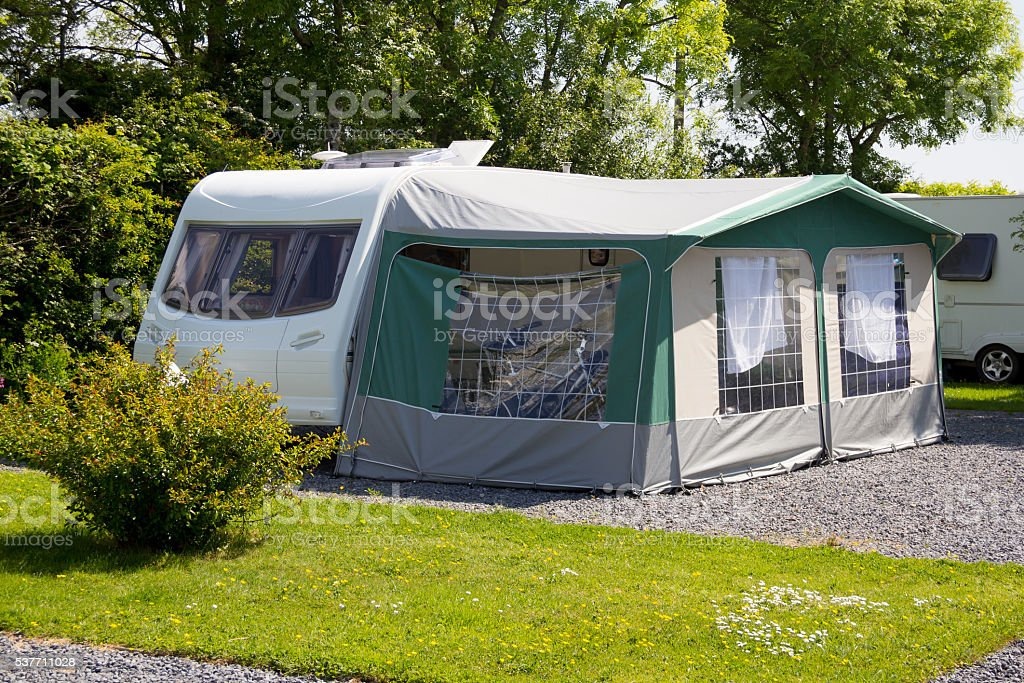 Caravan and awning in sunshine stock photo