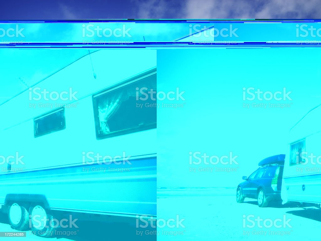 Caravan and car camping stock photo