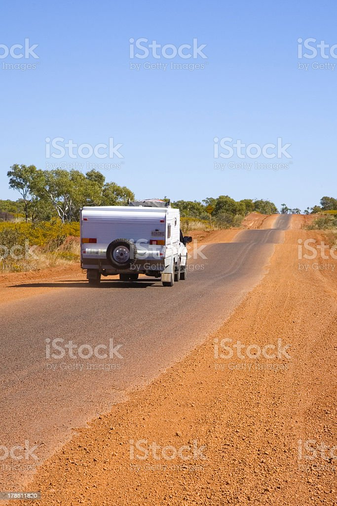 Caravan Being Towed on Outback Road in Australia royalty-free stock photo