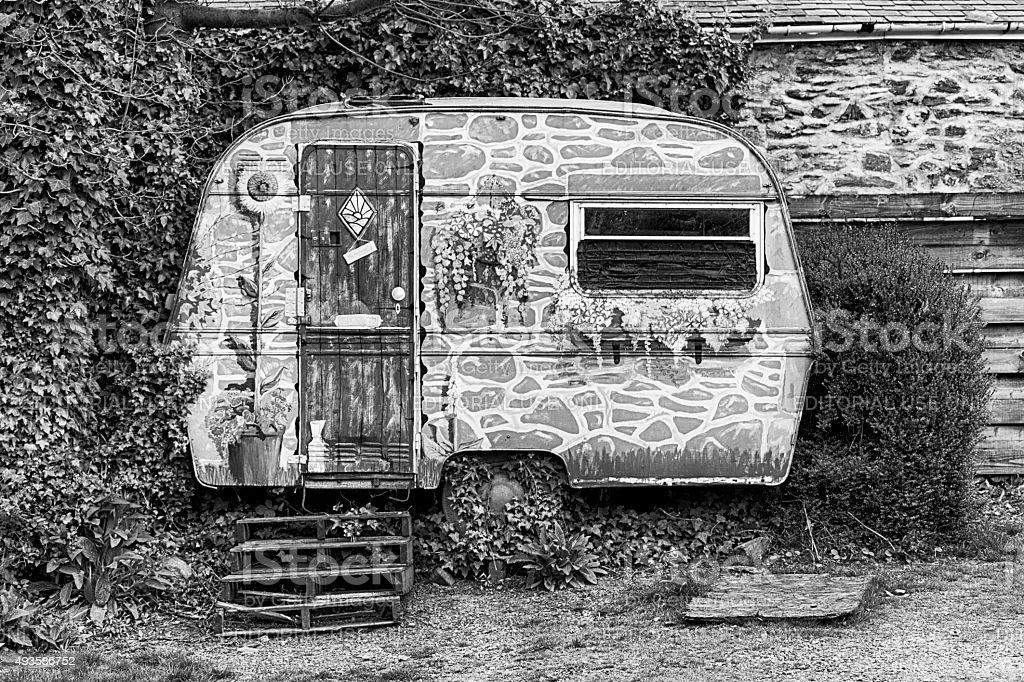 caravan painted like a house, Llangollen, North Wales stock photo