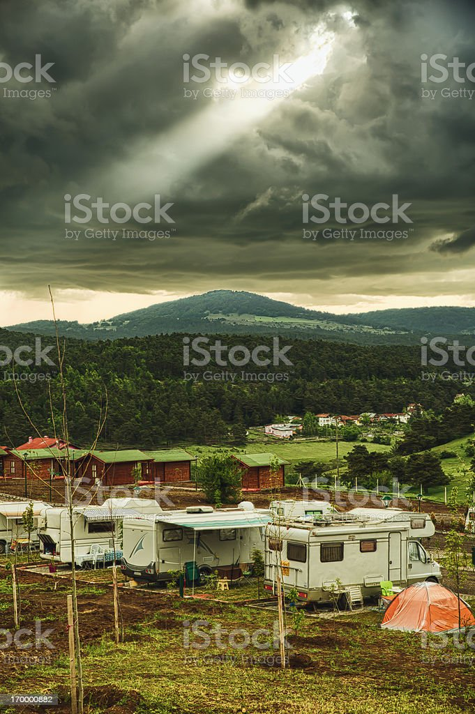 Caravans in caravan trailer park royalty-free stock photo