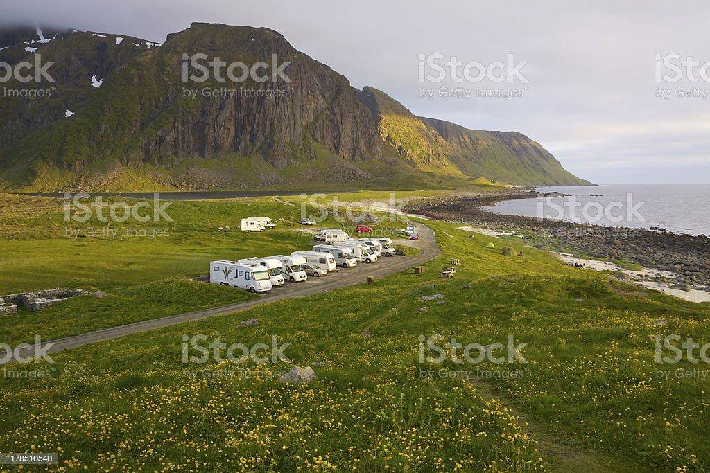 Caravans on Lofoten islands royalty-free stock photo