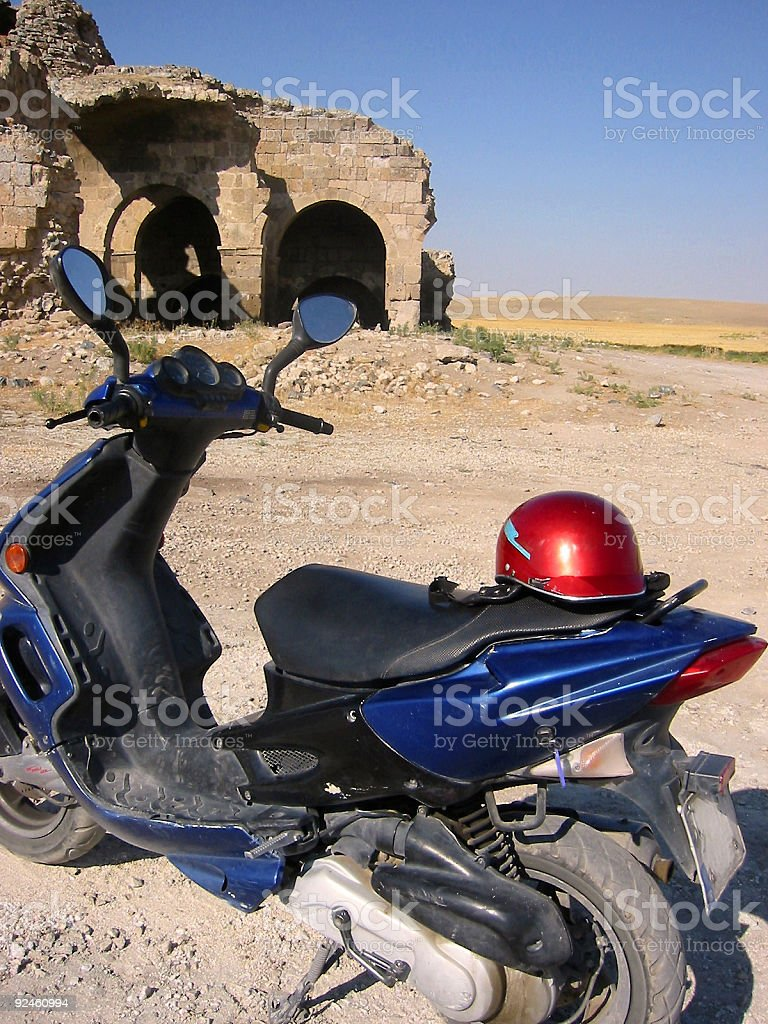 caravanserai ruins blue moped turkey royalty-free stock photo