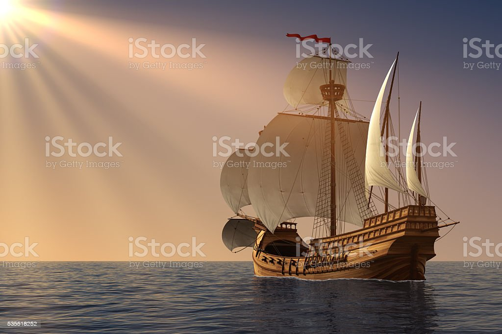 Caravel In Rays Of the Sun stock photo
