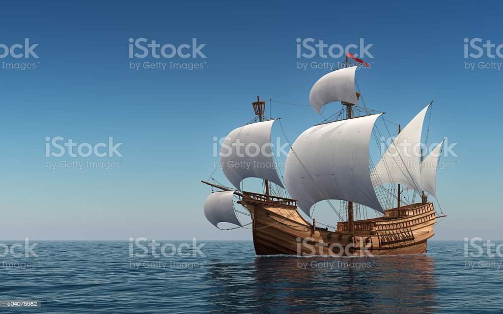 Caravel In The Blue Sea stock photo