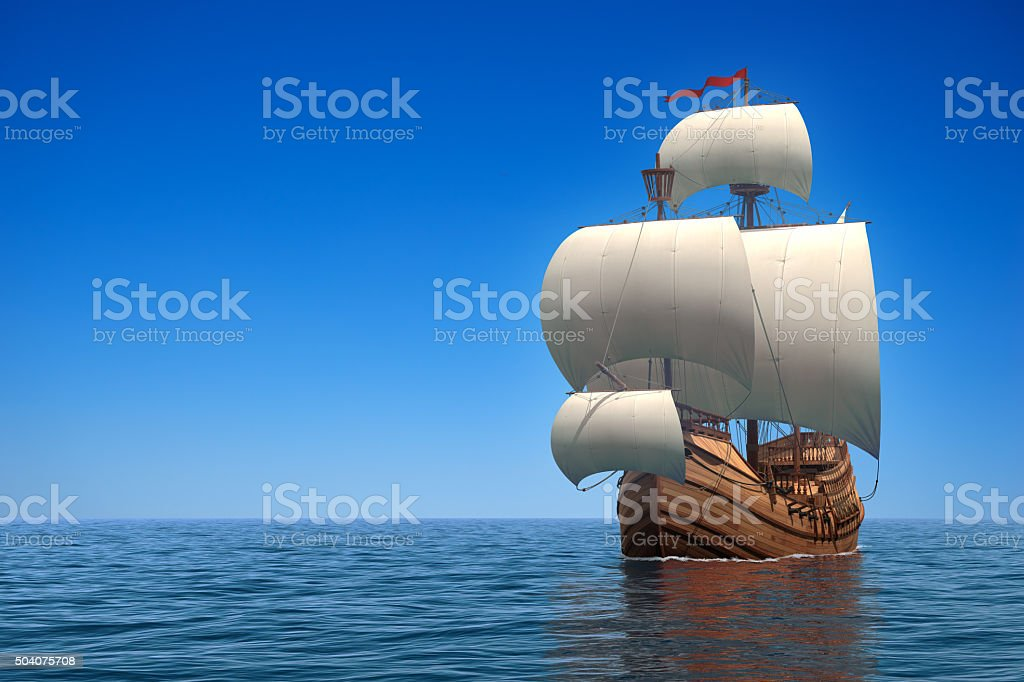 Caravel In The Ocean stock photo