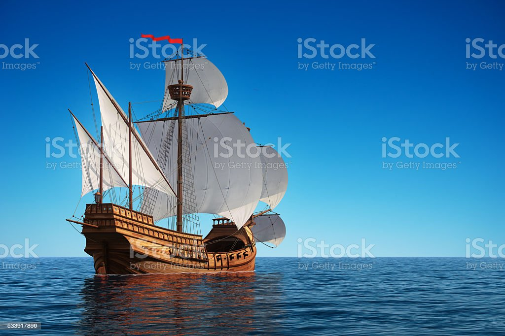 Caravel In The Ocean stock photo