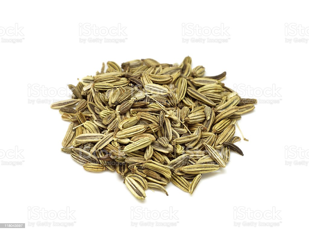caraway  fennel and aniseed isolated on white royalty-free stock photo