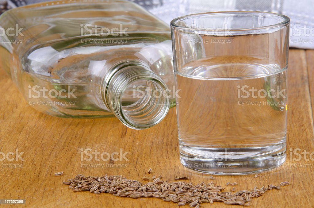 caraway schnapps in a glass stock photo