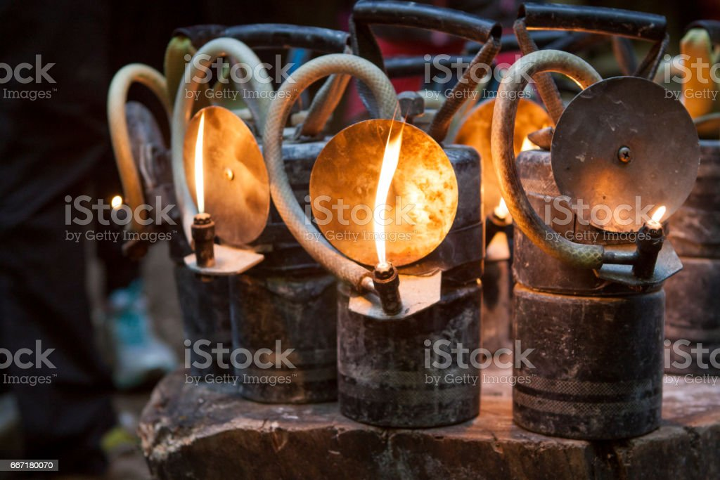 Carbide mining lamps stock photo