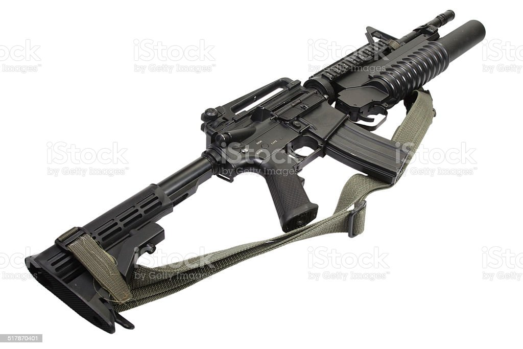 M4 carbine equipped with an M203 grenade launcher stock photo