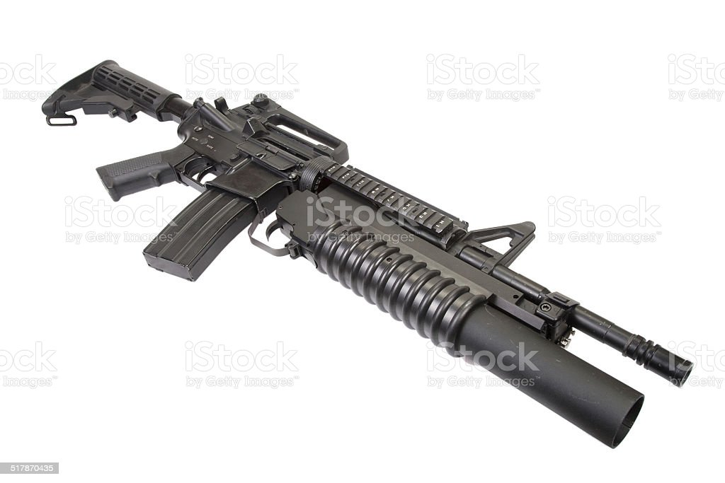 M4A1 carbine equipped with an M203 grenade launcher stock photo
