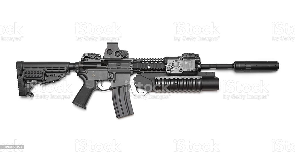 AR-15 (M4A1) carbine isolated on white background. royalty-free stock photo