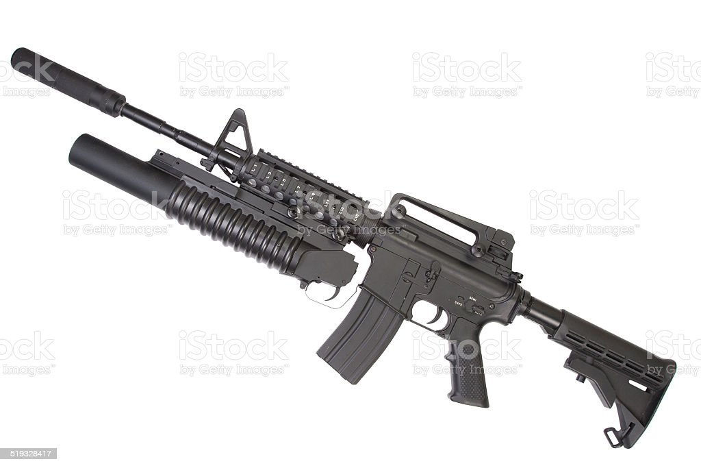 M4A1 carbine with silencer equipped with an M203 grenade launcher stock photo