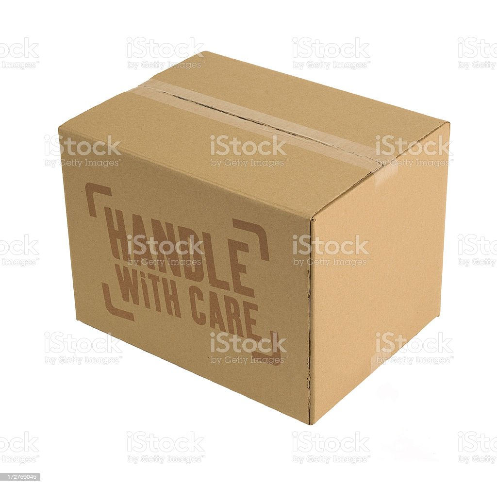 Carboard Boxes Handle With Care royalty-free stock photo