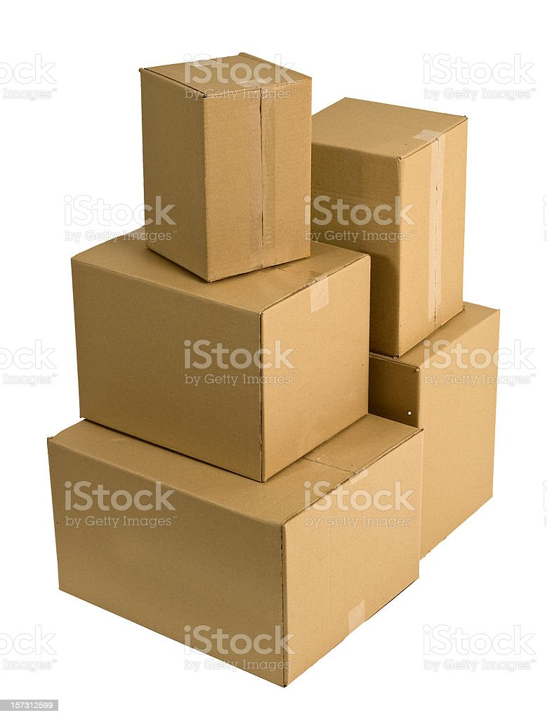 Carboard Boxes w/Clipping Path royalty-free stock photo
