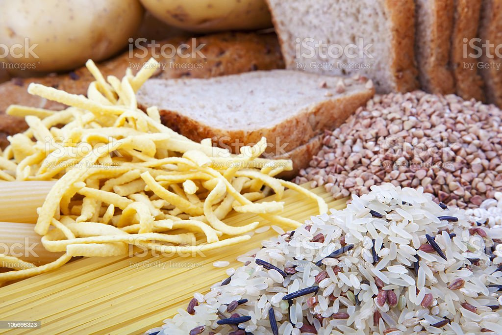 carbohydrate products background stock photo