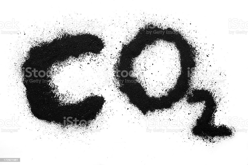 Carbon Dioxide CO 2 in coal on white paper stock photo