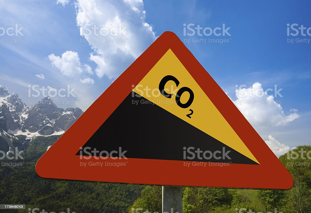 Carbon Dioxide Emissions Reduction Sign royalty-free stock photo