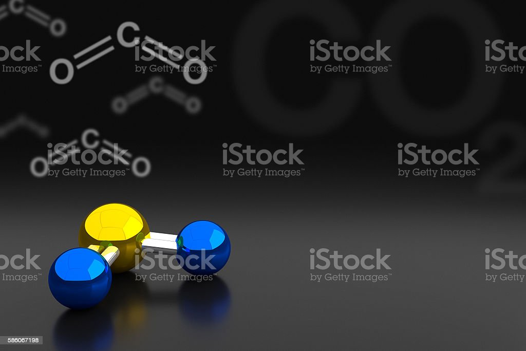 Carbon Dioxide or CO2 Molecule Background, 3D Rendering stock photo