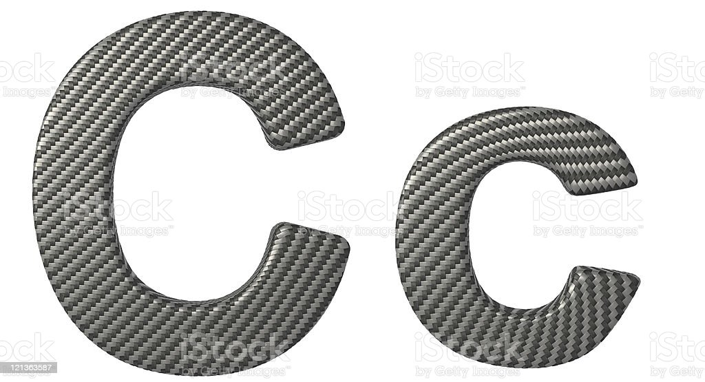 Carbon fiber font C lowercase and capital letters royalty-free stock photo