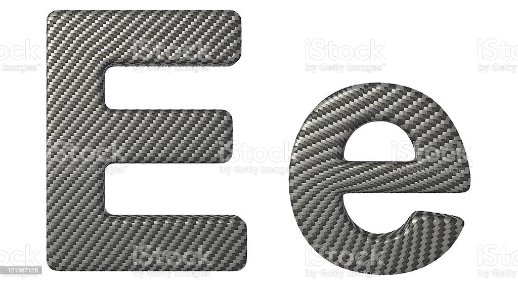 Carbon fiber font E lowercase and capital letters stock photo