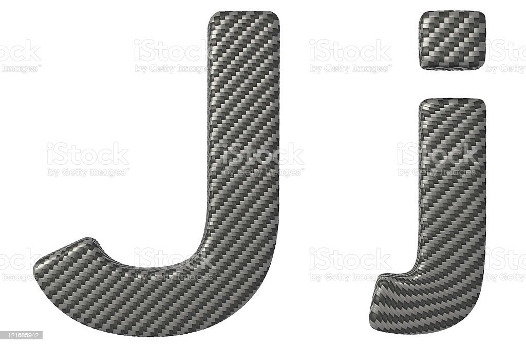 Carbon fiber font J lowercase and capital letters royalty-free stock photo