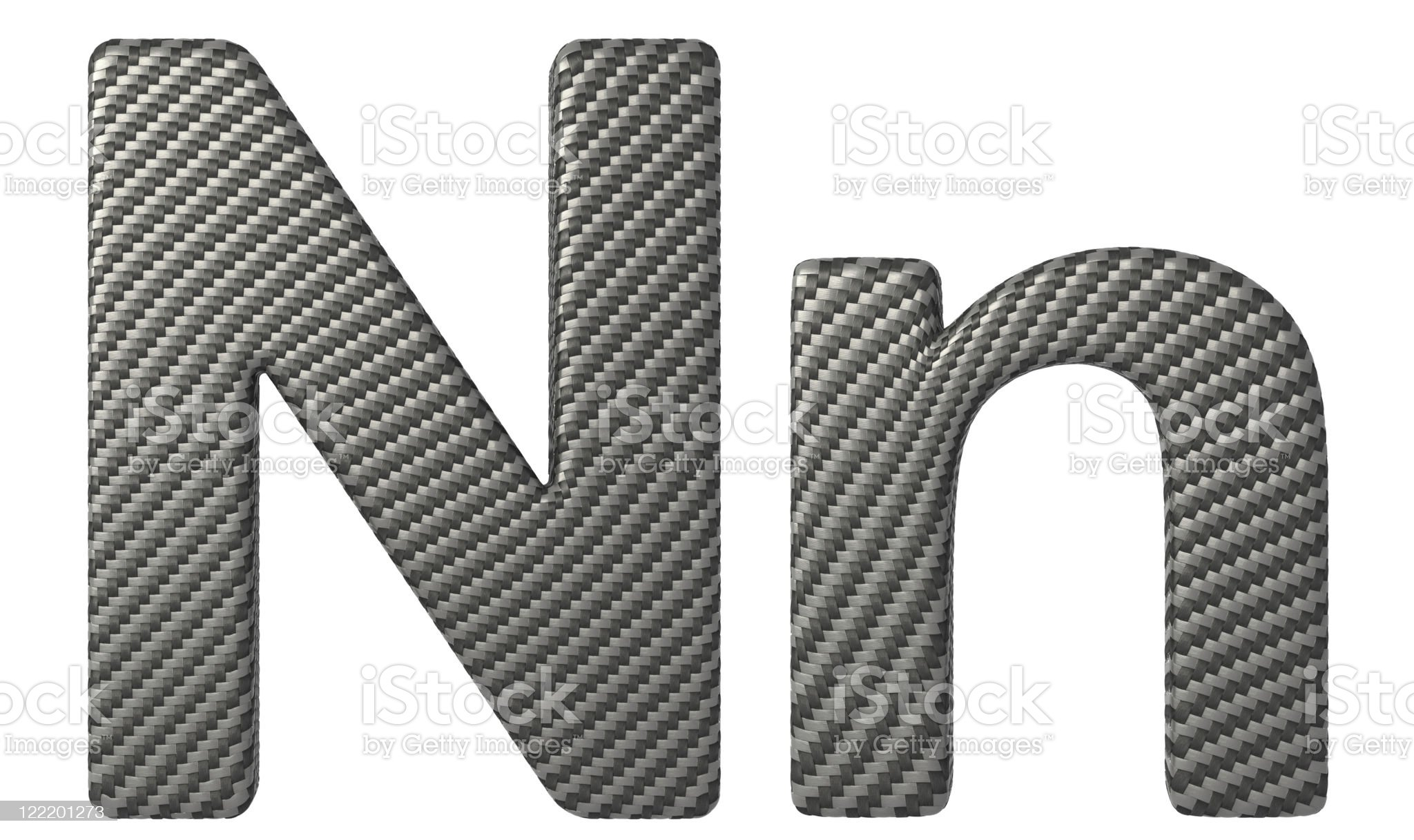 Carbon fiber font N lowercase and capital letters royalty-free stock photo