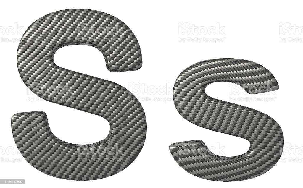 Carbon fiber font S lowercase and capital letters stock photo