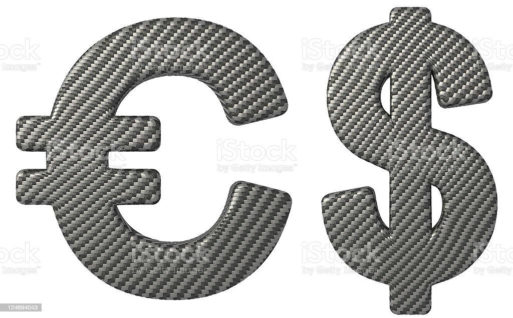 Carbon fiber font US dollar and euro symbols royalty-free stock photo