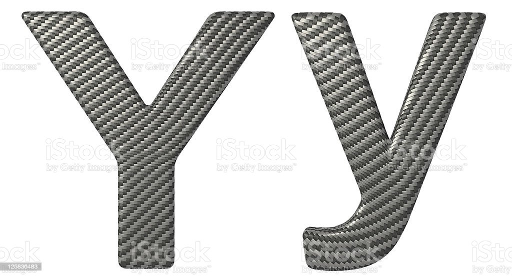 Carbon fiber font Y lowercase and capital letters stock photo