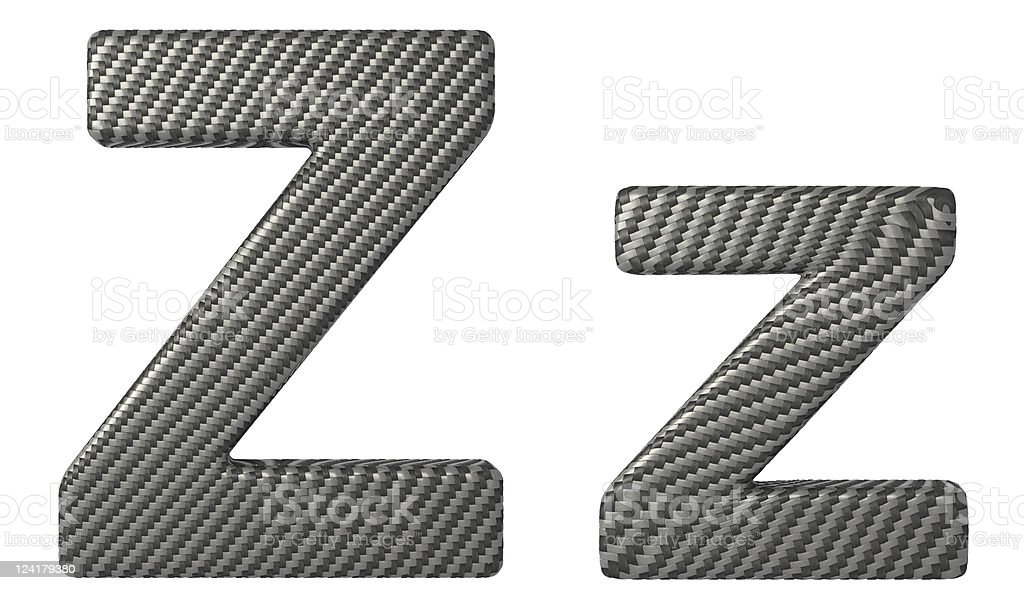Carbon fiber font Z lowercase and capital letters stock photo