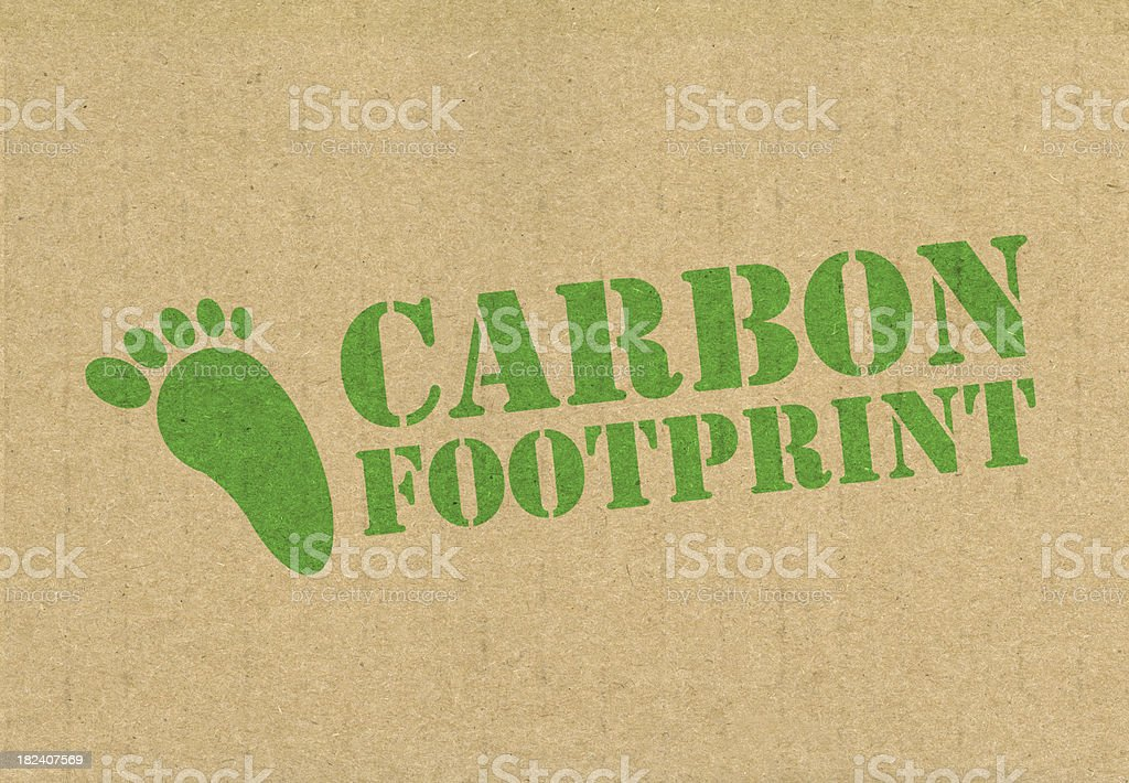 Carbon footprint woods in green on tab stock photo