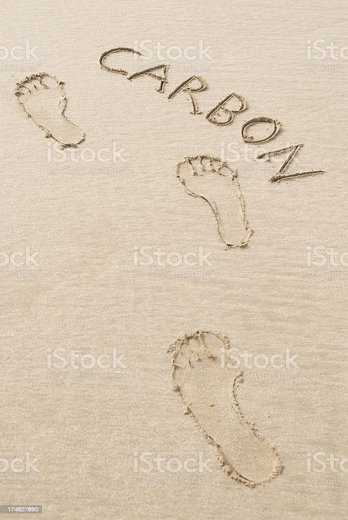 Carbon Footprints in Clean Sand royalty-free stock photo