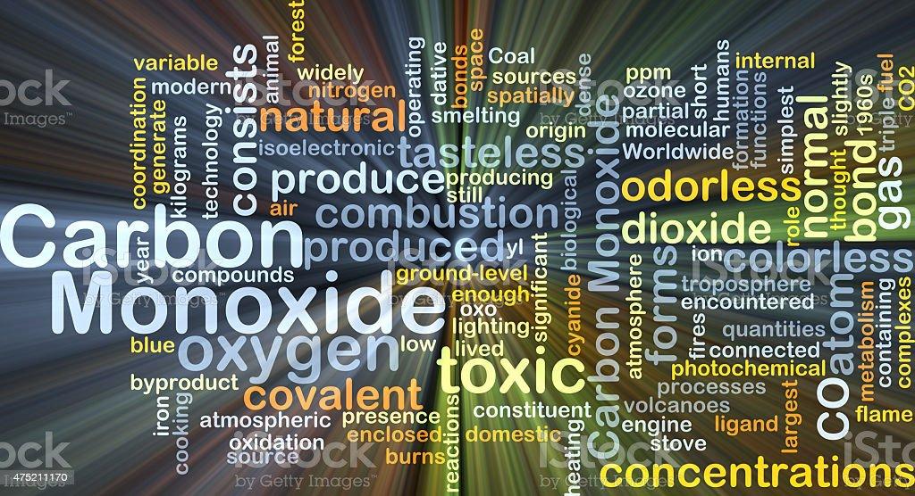 Carbon monoxide background concept glowing stock photo