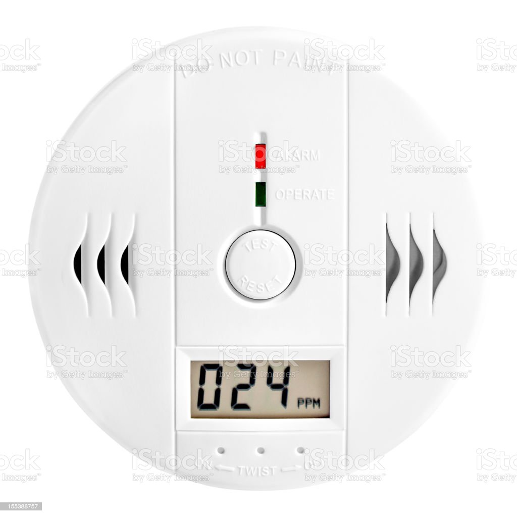 Carbon monoxide (CO) detector, isolated, clipping path stock photo