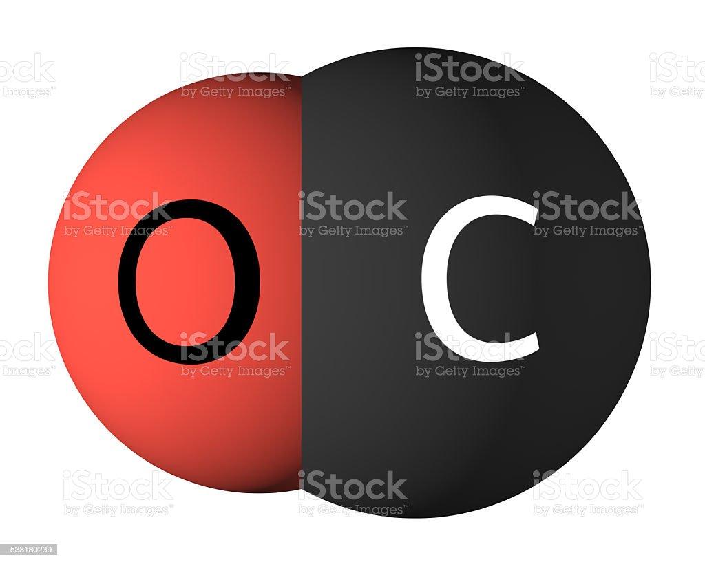 Carbon monoxide molecule isolated on white stock photo