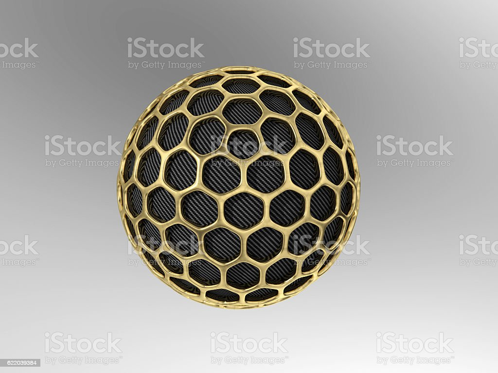 Carbon nanoparticle with gold mesh stock photo