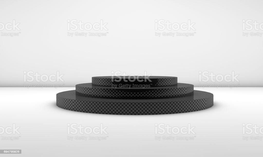 Carbon Patterned Empty Podium stock photo
