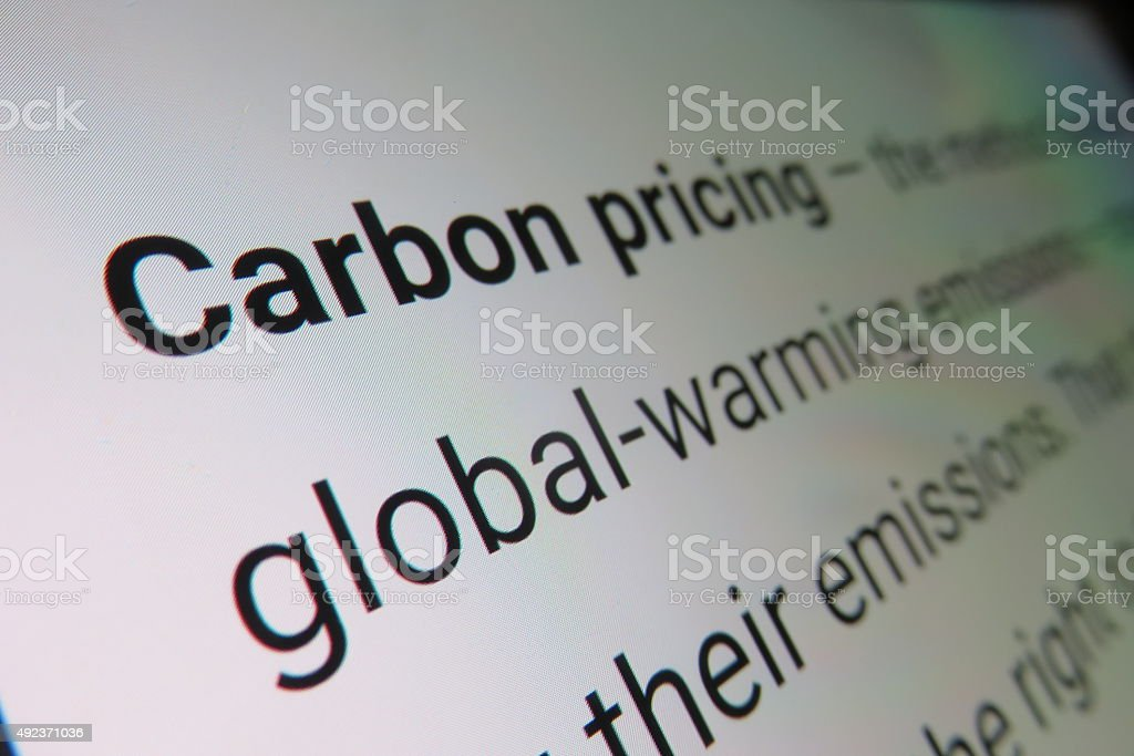 Carbon pricing - dictionary definition stock photo