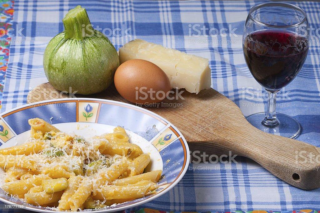 carbonara of zucchini royalty-free stock photo