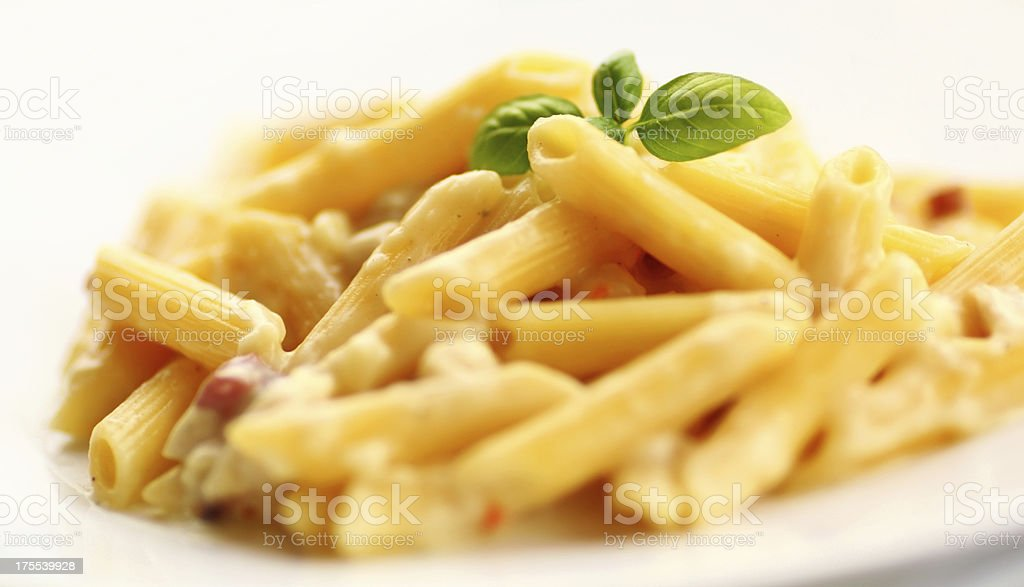 Penne Carbonara. stock photo