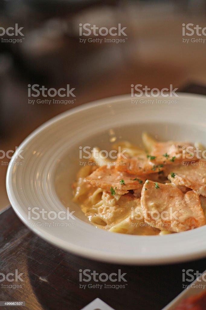 Carbonara with pork stock photo