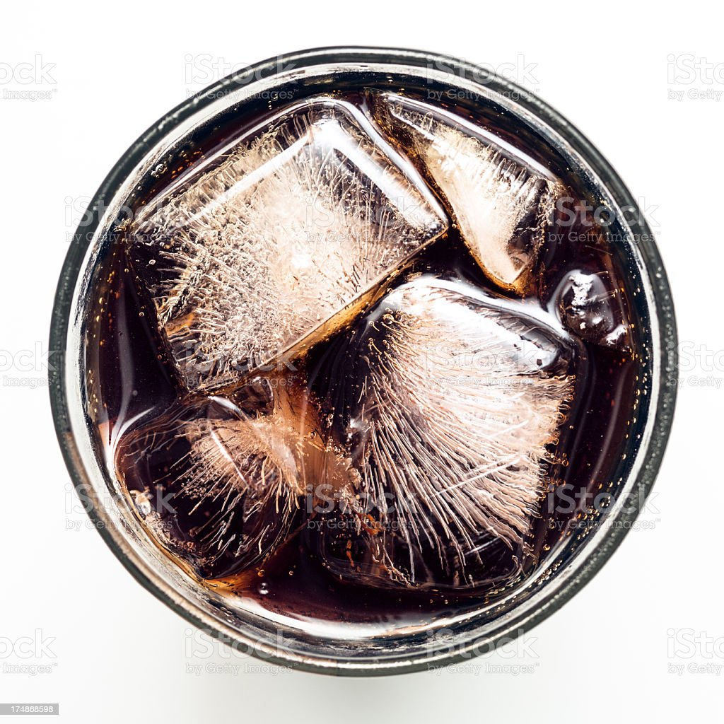 Carbonated Cola Soft Drink Overhead stock photo