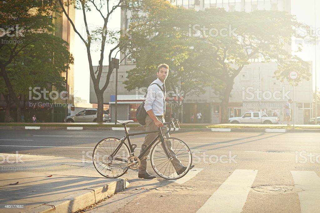 Carbon-free city travel stock photo