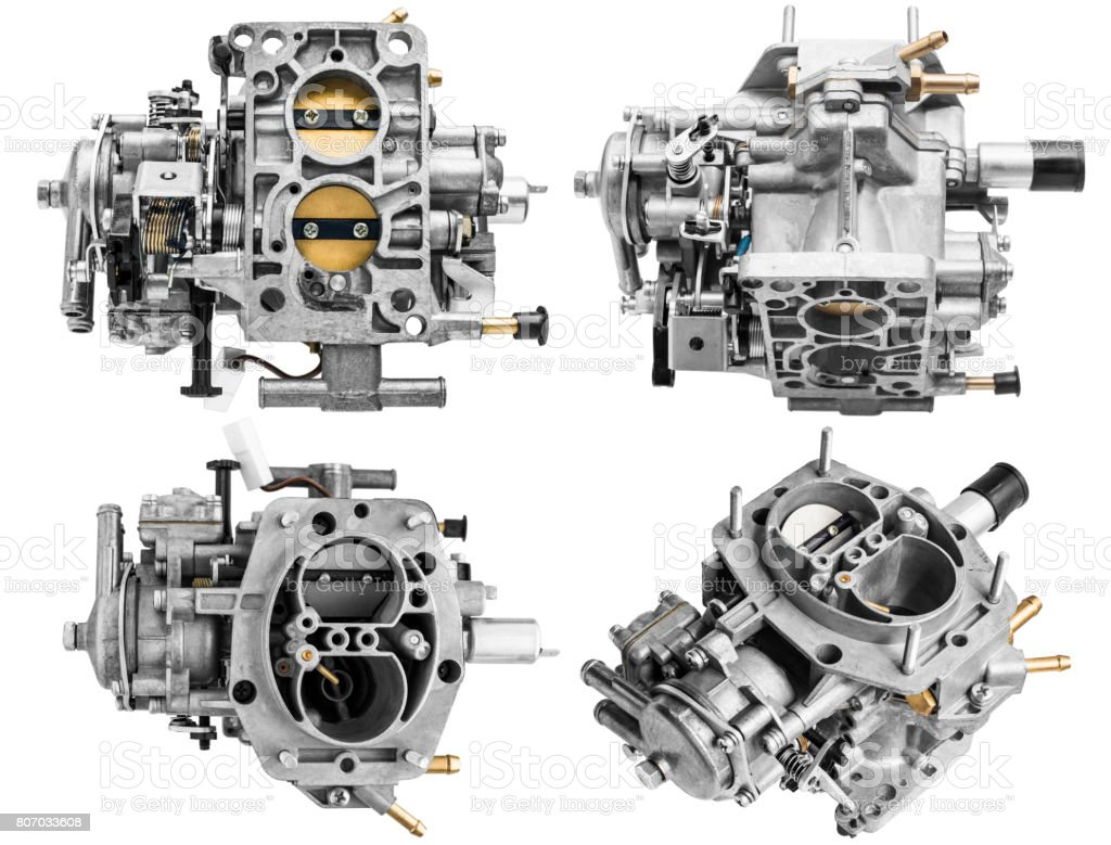 Carburetor on white background with shallow depth of field stock photo