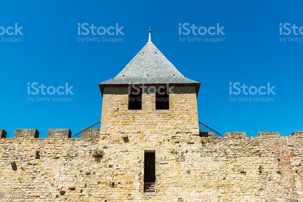 Carcasonne city wall stock photo
