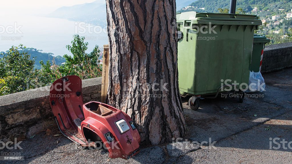 carcass abandoned scooter royalty-free stock photo