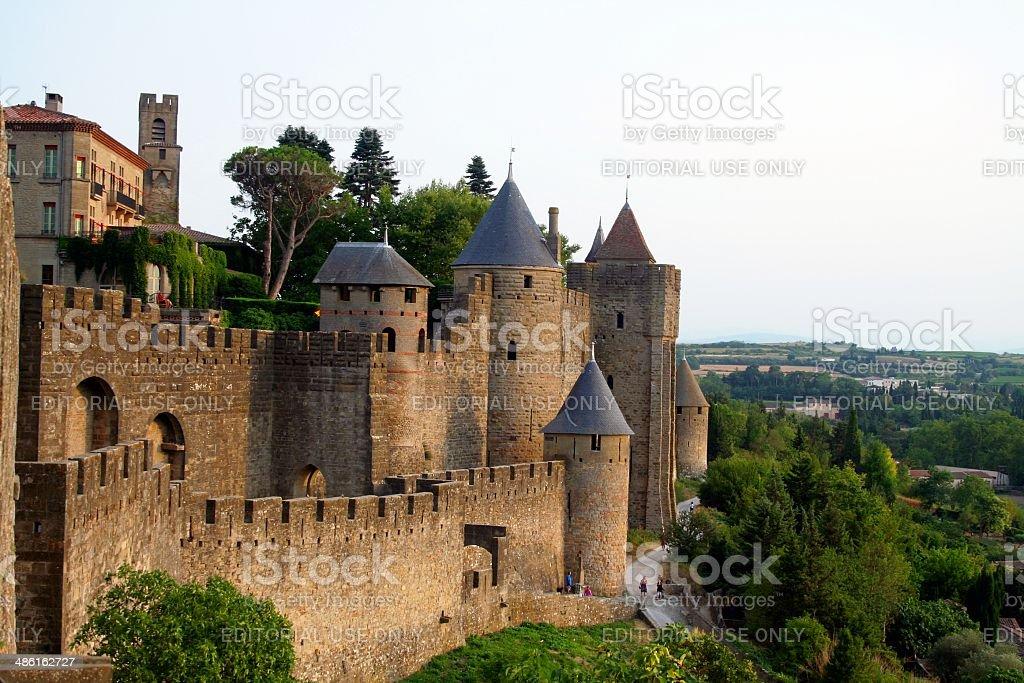 Carcassone medieval citadel at dusk. France. stock photo