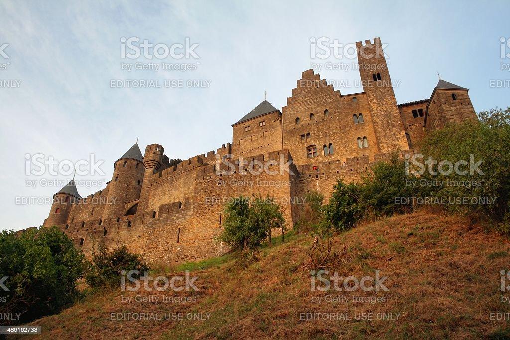 Carcassonne Languedoc France medieval citadel at dusk stock photo